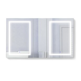 Vannest Recessed or Surface Mount Frameless 3 Door Medicine Cabinet with 9 Adjustable Shelves and LED Lighting and Electrical Outlet by Orren Ellis