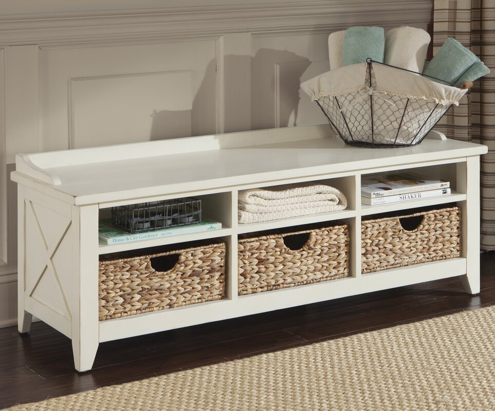 methuen wood storage bench