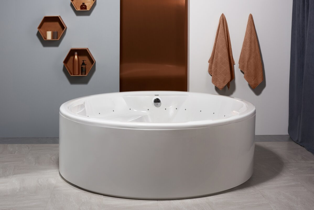 "Aquatica Allegra 74.75"" x 74.75"" Freestanding Whirlpool Bathtub ..."