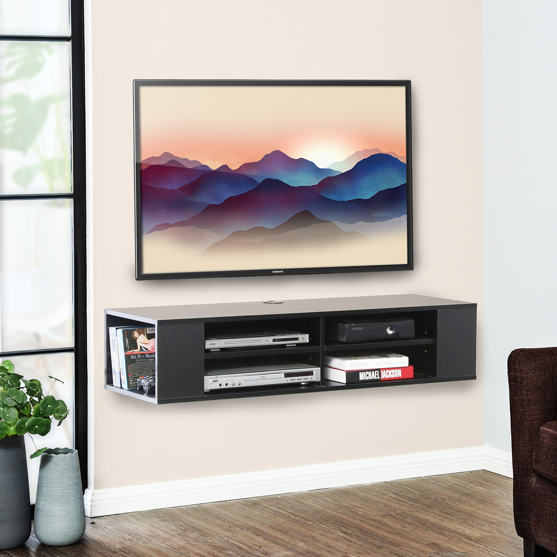Latitude Run Allar Floating Tv Stand For Tvs Up To 55 Reviews Wayfair