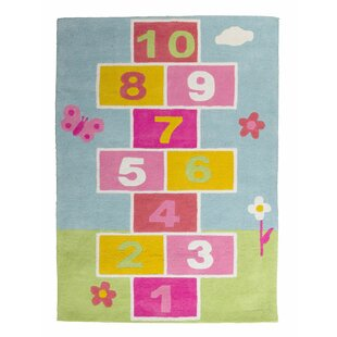 Kids Hopscotch Hand-Tufted Blue/Pink Area Rug by Castleton Home