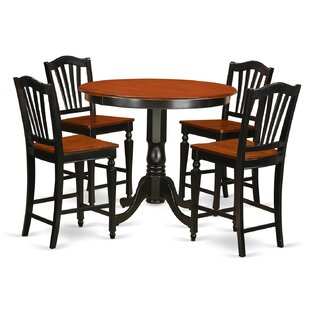 Trenton 5 Piece Counter Height Solid Wood Pub Table Set East West Furniture