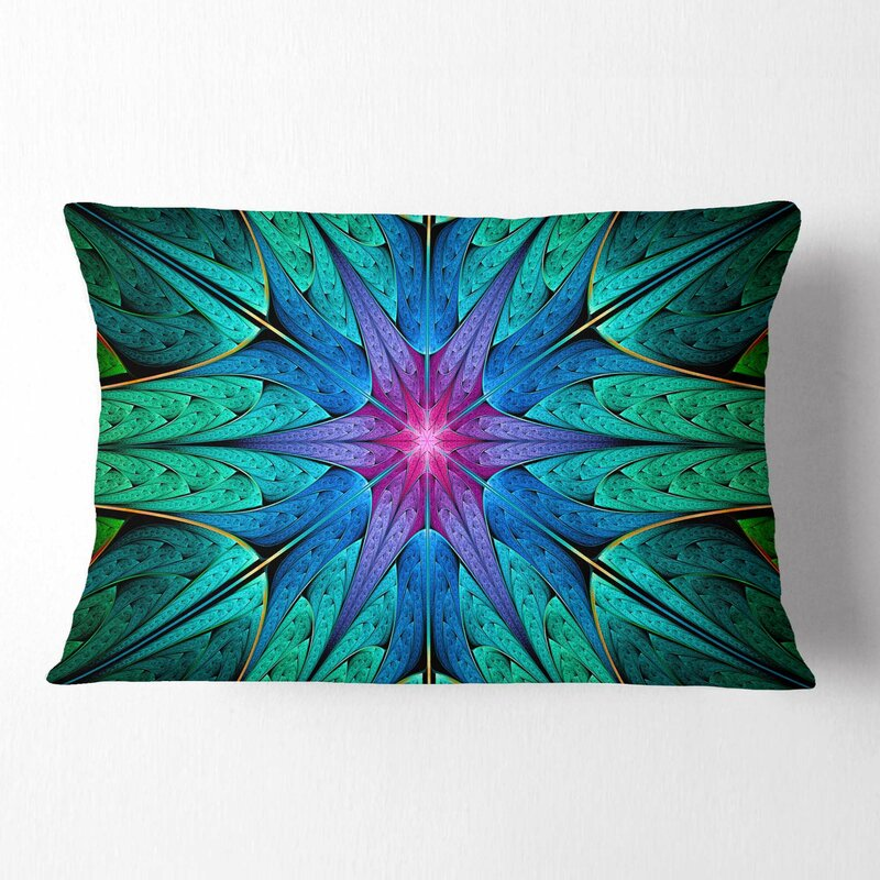 East Urban Home Abstract Star Fractal Stained Glass Lumbar Pillow Wayfair