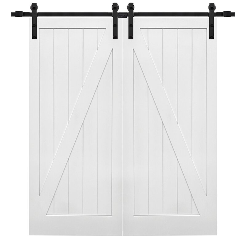 Double Stile and Rail Z Planked 2 Panel Interior Barn Door with Hardware