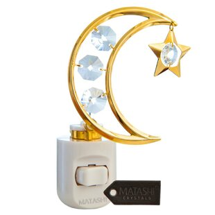 Matashi Crystal 24K Gold Plated Crystal Studded Moon and Dangling Star LED Night Light