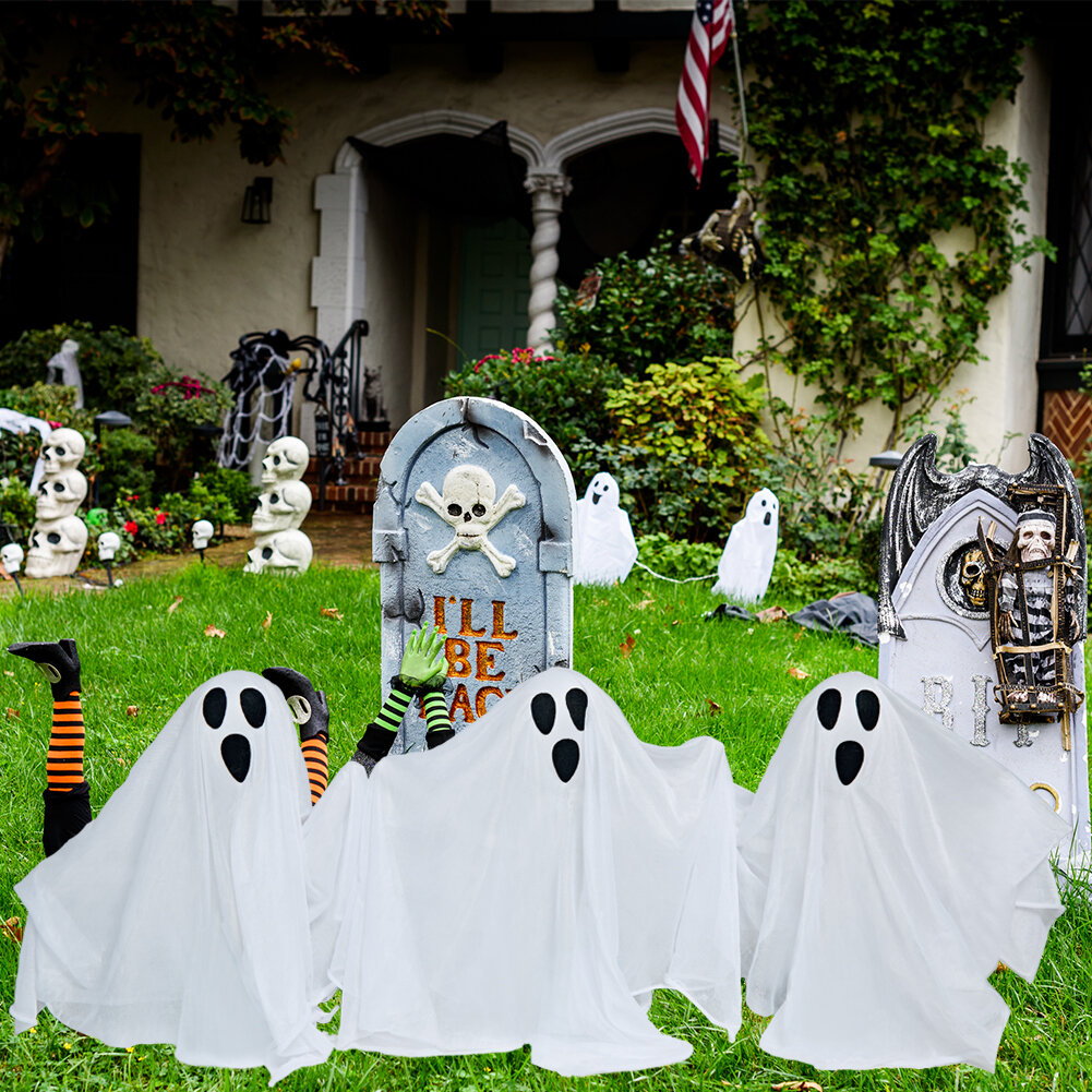 The Holiday Aisle Decor Yard Ghost Stake With Shining Face Lighted Display Wayfair