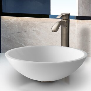 Where buy  Phoenix Glass Circular Vessel Bathroom Sink with Faucet By VIGO