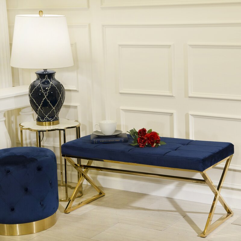 Gold/Navy Tinley Metal Bench by Everly Quinn