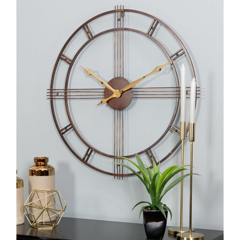 Details about  /Mid-Century Modern Clock Minimalist Wall Decor Contemporary Copper Accent