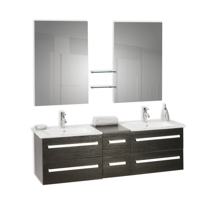 bathroom vanities wall mounted. Madrid 150cm Wall Mounted Double Bathroom Vanity Unit With Mirror And Tap Vanities