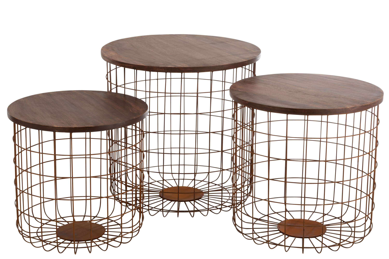 Picture of: Williston Forge Kwiatkowski Basket Wire Metal Rust 3 Piece Nest Of Tables Wayfair Co Uk