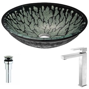 Affordable Bravo Glass Circular Vessel Bathroom Sink with Faucet By ANZZI