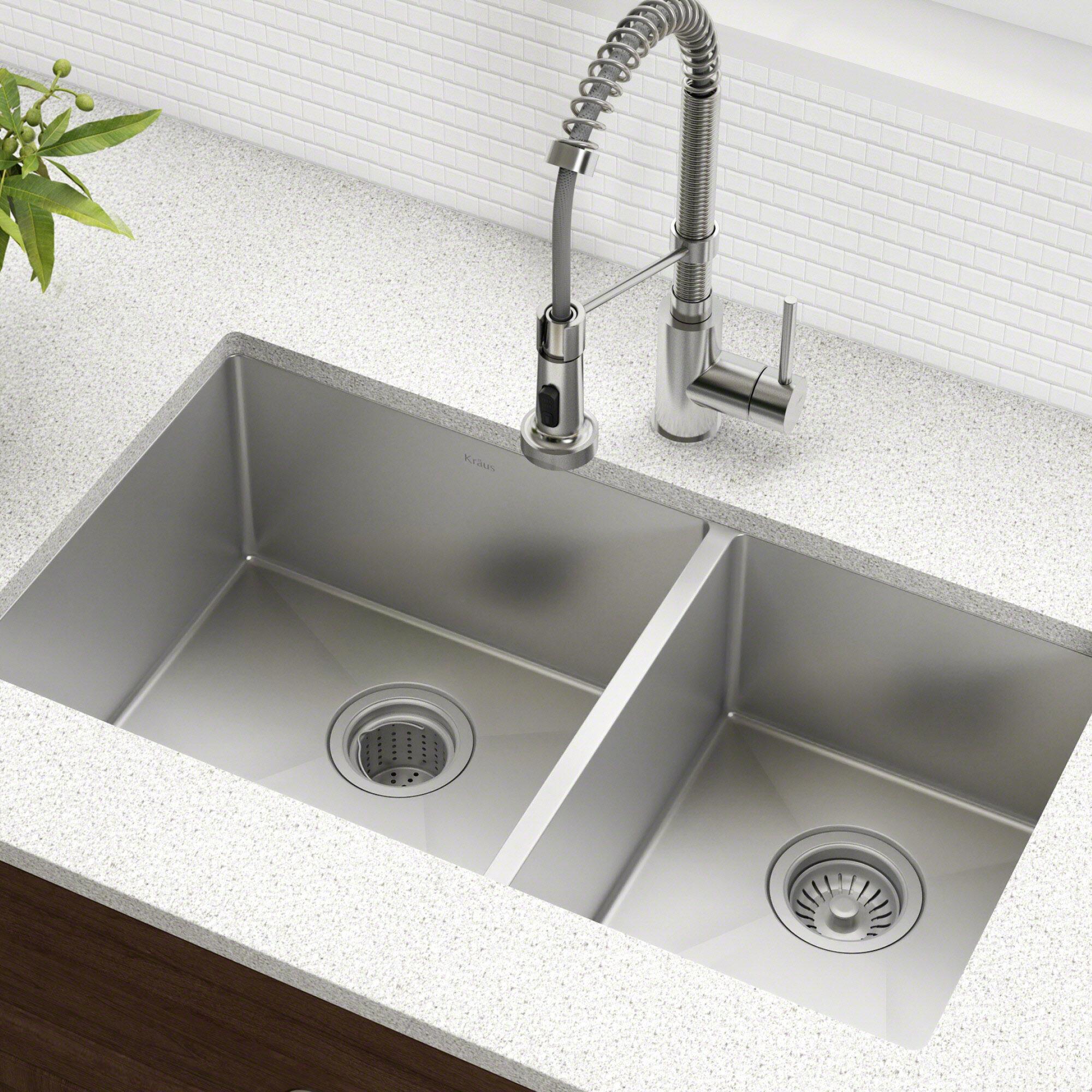 khu103 33 kraus kitchen sink 33 l x 19 w double basin undermount rh wayfair com kitchen sink double vs single bowl kitchen sinks double drainer