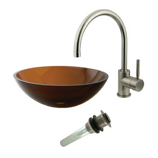Searching for Glass Circular Vessel Bathroom Sink with Faucet By Kingston Brass
