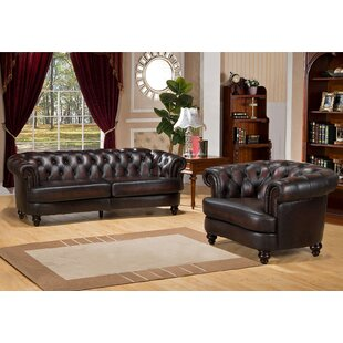 17 Stories Irina 2 Piece Leather Living R..