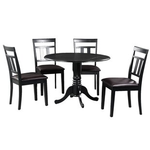 Brompton 5 Piece Drop Leaf Solid Wood Dining Set by Alcott Hill Comparison