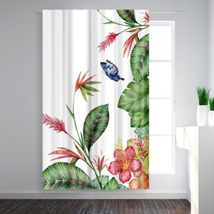 Victoria Nelson Tropical Floral Blackout Rod Pocket Single Curtain Panel by East Urban Home
