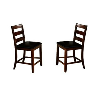 Edgar Ladder Back Wooden Pub with Footrest Upholstered Dining Chair (Set of 2) by Winston Porter