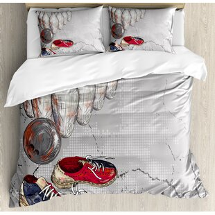 East Urban Home Bowling Shoes Pins and Ball Artistic Grunge Style Duvet Set