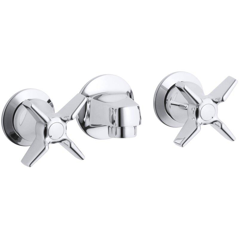 K 8046 3a Cp Kohler Triton Shelf Back Commercial Bathroom Sink Faucet With Grid Drain And Cross Handles Wayfair