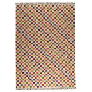 Checkers White/Multi Area Rug