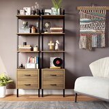 Sikeston 72.4 H x 18.9 W Metal Ladder Bookcase with Bins by 17 Stories