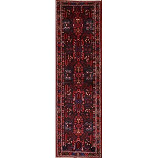One-of-a-Kind Oney Lilian Hamadan Persian Hand-Knotted Runner 3'7 x 12'7 Wool Black/Blue/Red Area Rug Isabelline