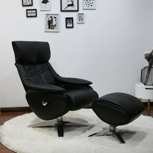 Price comparison Kagan Leather Manual Swivel Recliner with Ottoman by Orren Ellis Reviews (2019) & Buyer's Guide