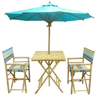 Sinta 3 Piece Teak Bistro Set with Umbrella by Bay Isle Home
