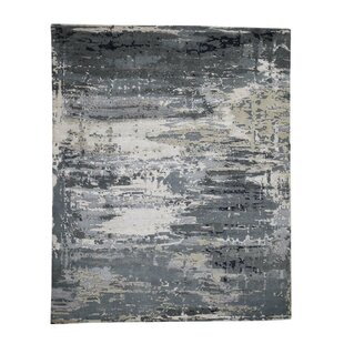 Best One-of-a-Kind Reedsburg Hi-Low Pile Hand-Knotted 8' x 9'10 Wool/Silk Black/Gray/Green Area Rug By Isabelline
