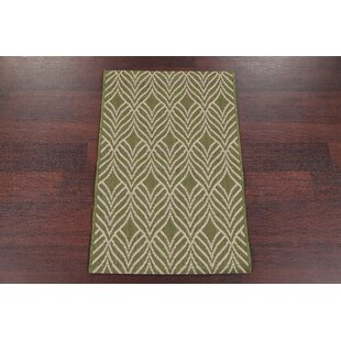 Bargain Buker Hand-Tufted Wool Green/White Area Rug By Bungalow Rose