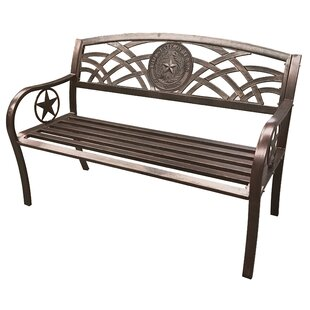 Mooneyham Texas State Seal Stainless Steel Garden Bench
