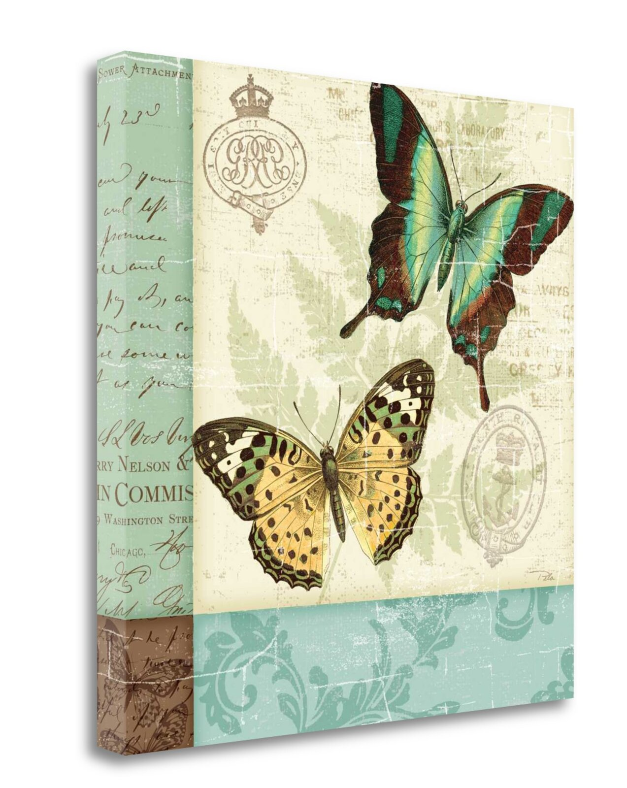 Patchwork Wall Decor - 'Butterfly Patchwork I' Graphic Art Print on Canvas