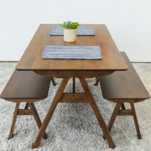 Abagail 3 Piece Solid Wood Dining Set