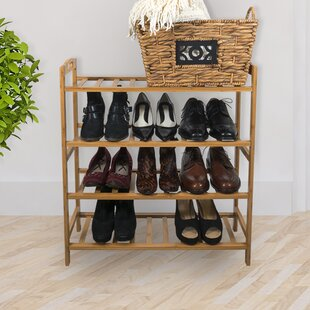 Bamboo 12 Pair Shoe Rack Rebrilliant