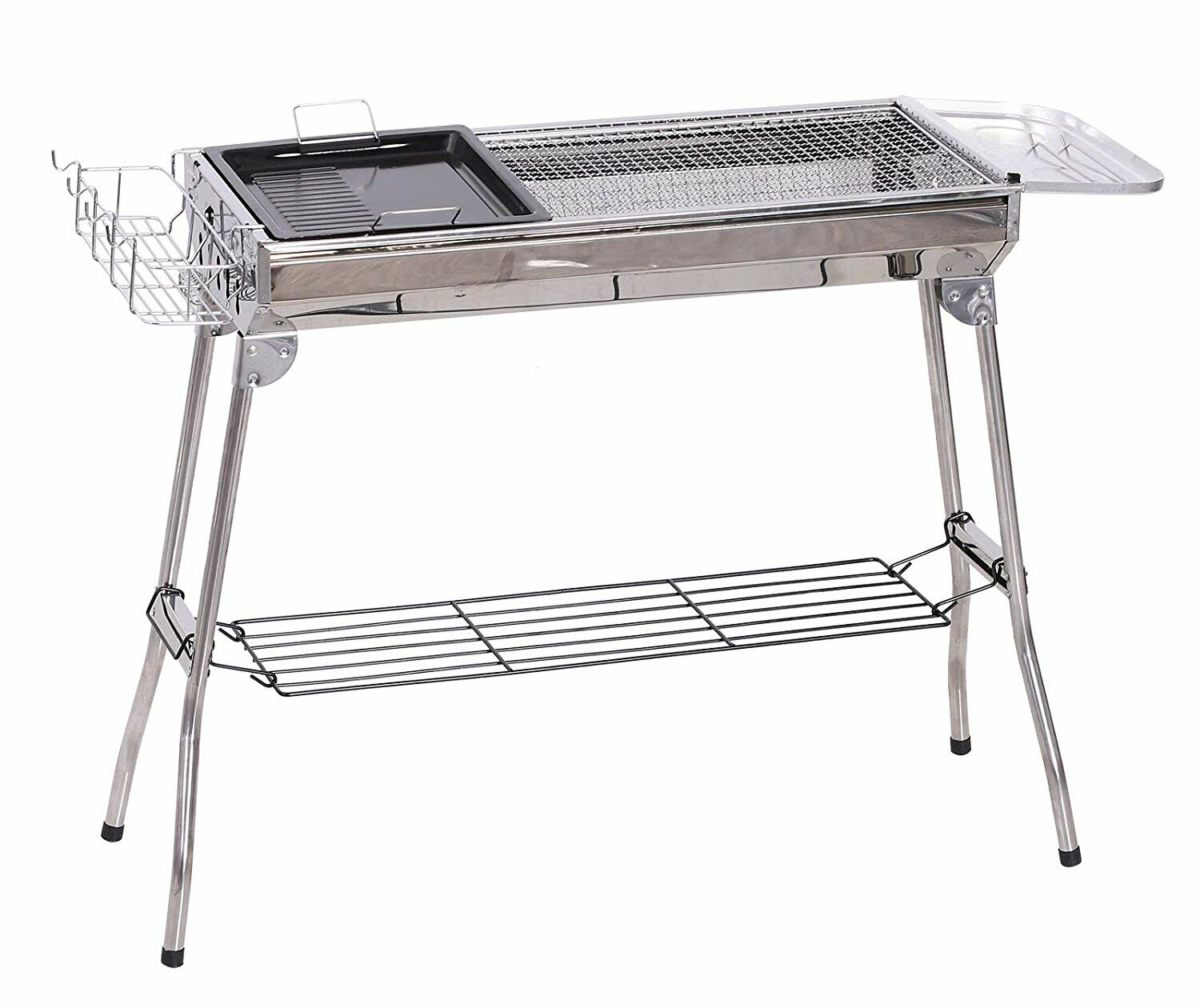 Portable Fold Camping Stainless Steel Barrel BBQ Stove Charcoal Barbecue Table