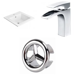 Look for 1 Hole Ceramic Rectangular Drop-In Bathroom Sink with Faucet and Overflow ByAmerican Imaginations