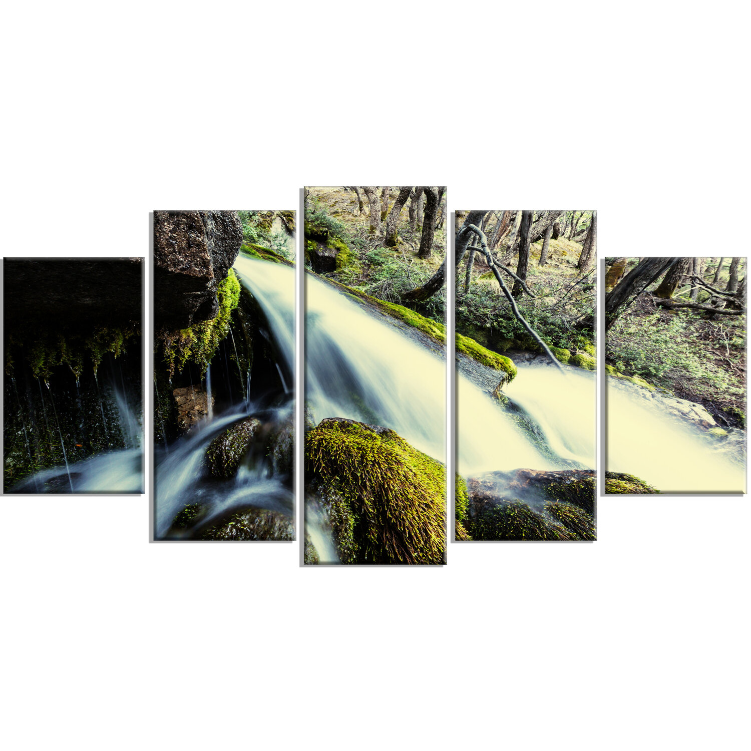 Designart Waterfall In Forest On Rocks 5 Piece Photographic Print On Wrapped Canvas Set Wayfair