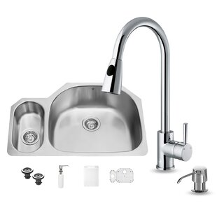 VIGO 32 inch Undermount 80/20 Double Bowl 18 Gauge Stainless Steel Kitchen Sink with Weston Chrome Faucet, Grid, Two Strainers and Soap Dispenser