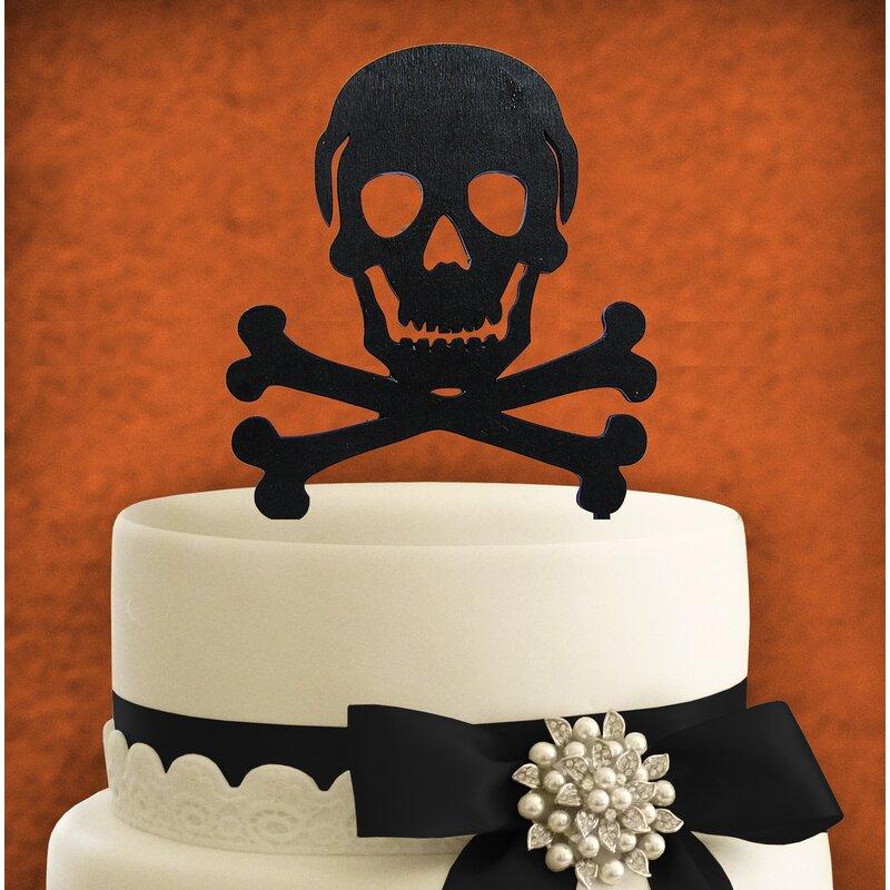 AMonogramArtUnlimited Skull Painted Cake Topper Wooden