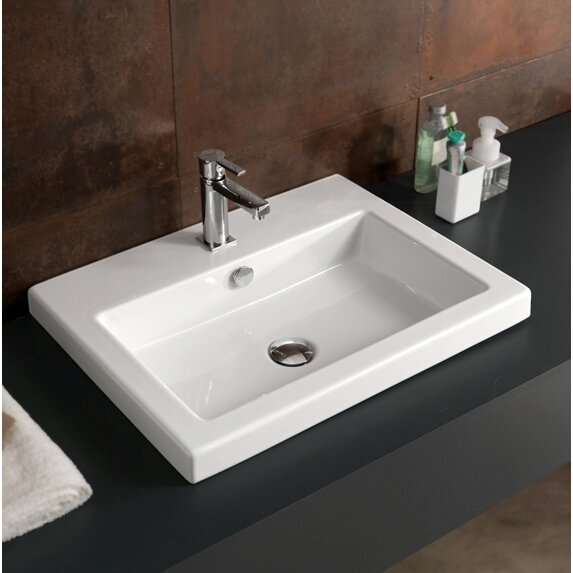 Cangas Ceramic Rectangular Drop-In Bathroom Sink with Overflow ...