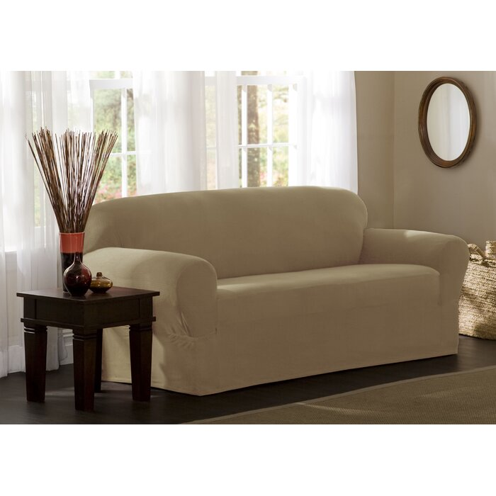 Surprising Reeves Stretch Box Cushion Loveseat Slipcover Home Interior And Landscaping Eliaenasavecom