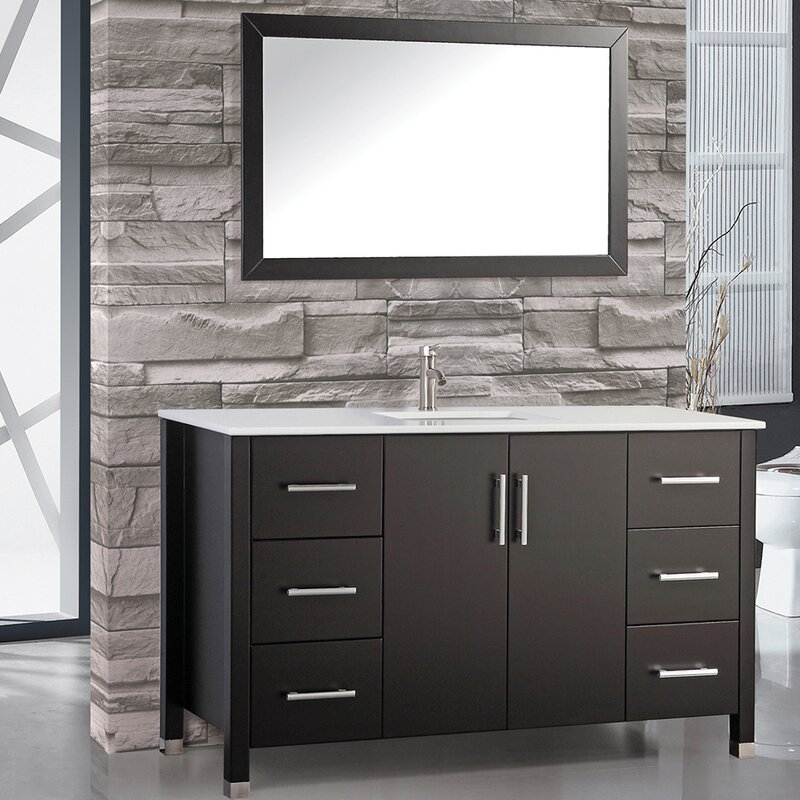 Wade Logan Charie Modern 60 Single Sink Bathroom Vanity Set with