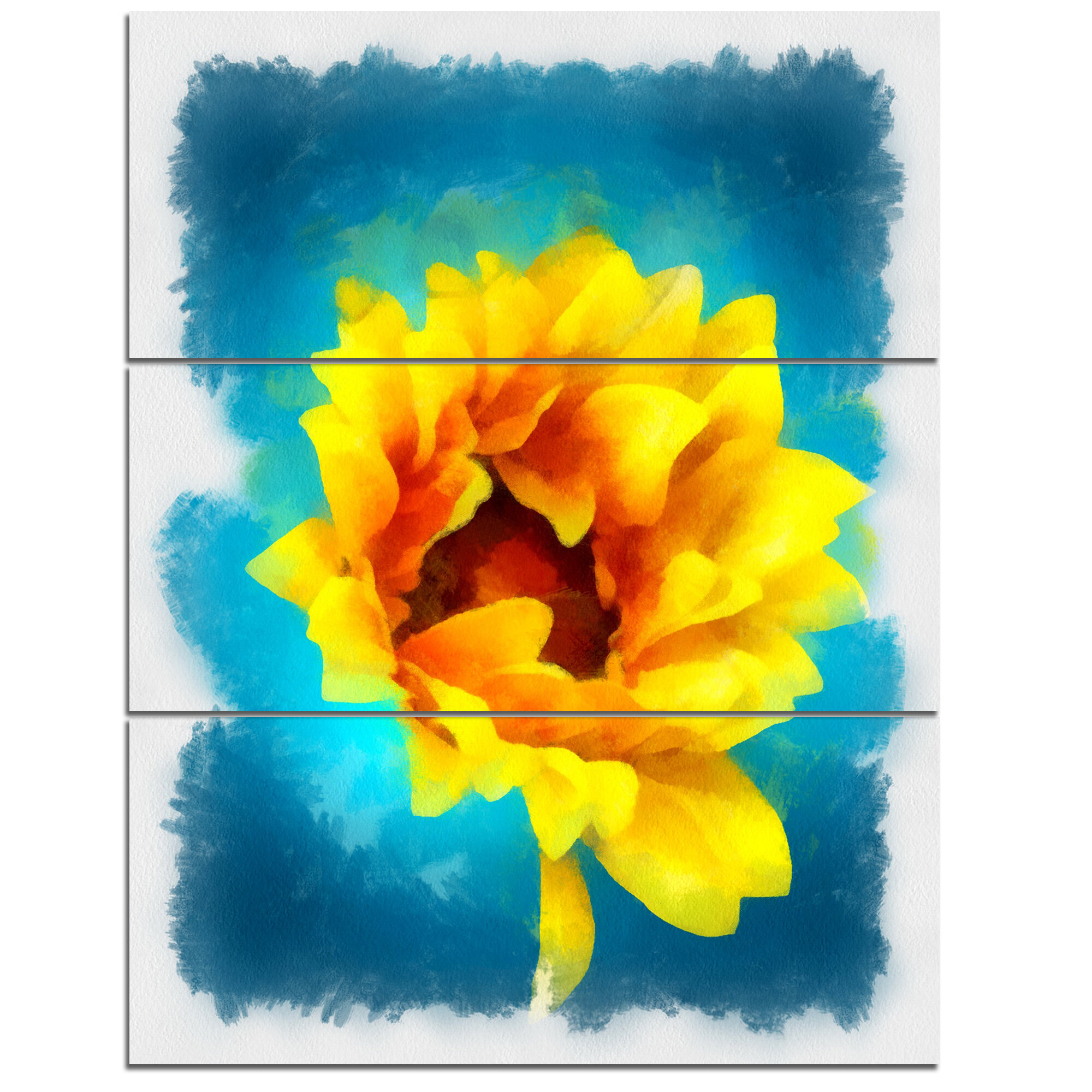DesignArt \'Sunflower on Blue Watercolor\' 3 Piece Wall Art on Wrapped ...