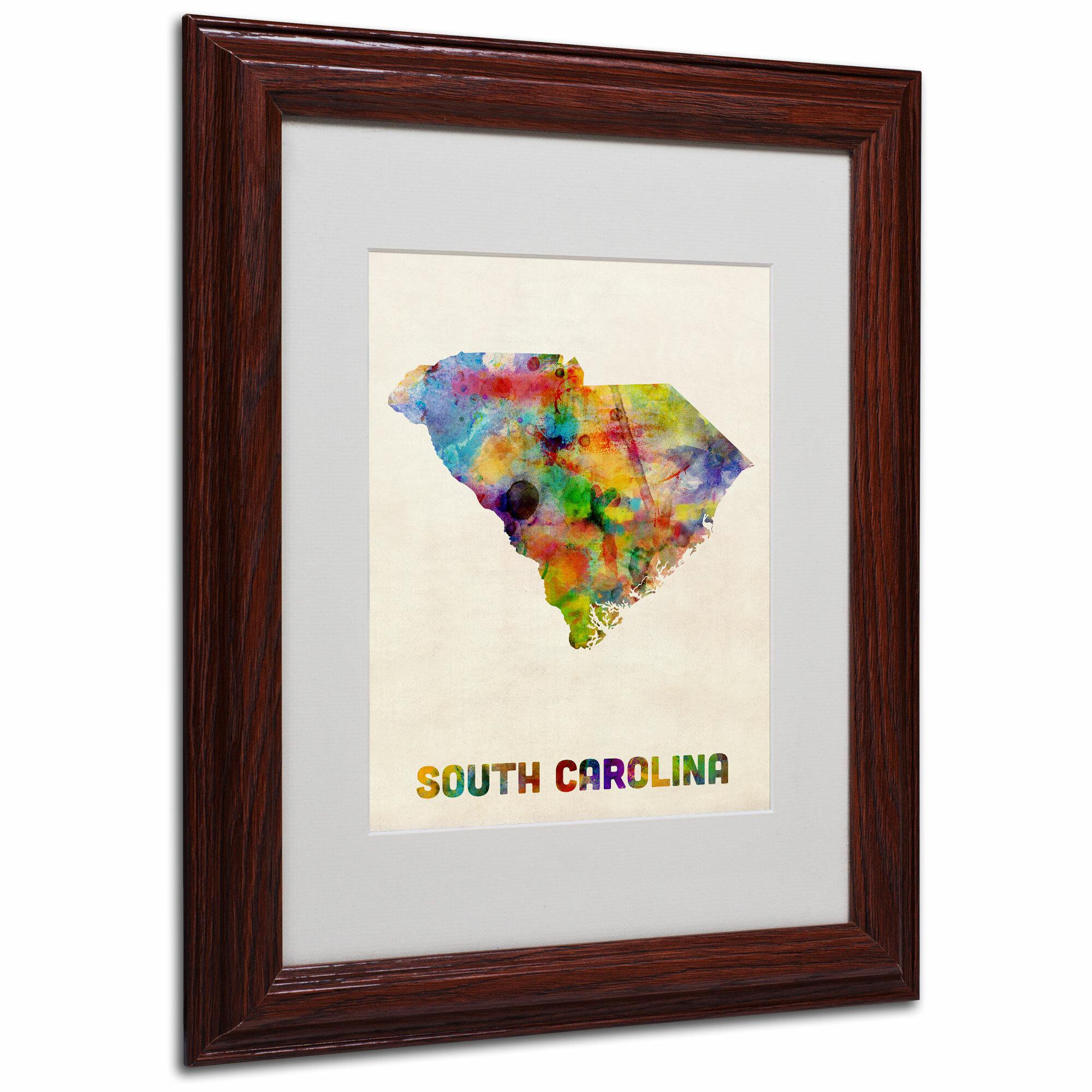 Trademark Art South Carolina Map By Michael Thompsett Framed Graphic Art Wayfair