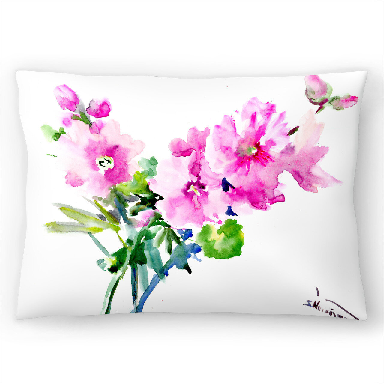 East Urban Home Suren Nersisyan Hollyhock Flowers 1 Lumbar Pillow Wayfair