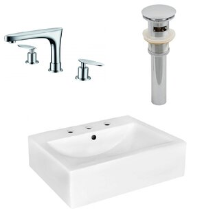 Big Save Ceramic 20 Wall-Mount Bathroom Sink with Faucet and Overflow By Royal Purple Bath Kitchen