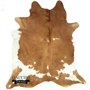 Reviews Raunds Beige/White Cowhide Area Rug By World Menagerie