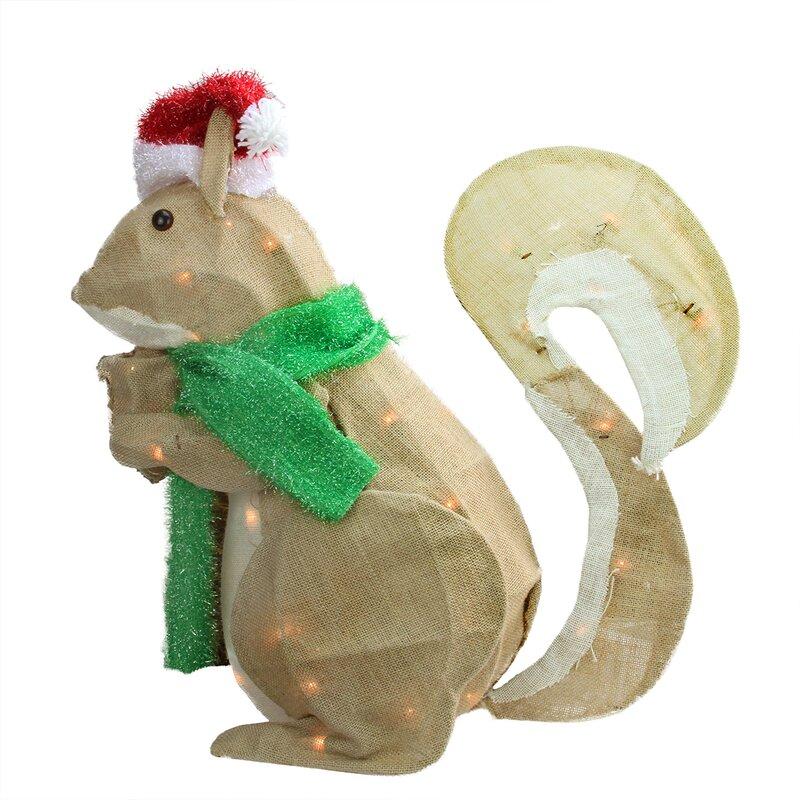 Northlight Pre-Lit Outdoor Burlap Squirrel Christmas Decoration ...