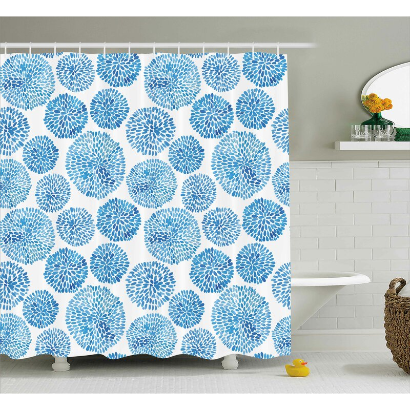 Marshall Watercolor Japanese Flower Circle Petal Pattern Spring Inspired Hand Drawn Print Single Shower Curtain
